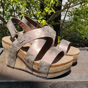 Pierre Dumas Wedge Platform Strappy Bronze Sandals